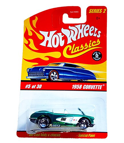 HOT WHEELS 2005 5 of 30 green 1958 CORVETTE CLASSICS SERIES 2 1:64 SCALE DIE-CAST BODY/CHASSIS SPECIAL PAINT - 1