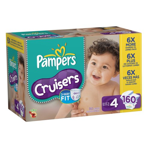Pampers Cruisers Diapers Economy Pack Plus Size 4, 160 Count