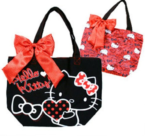 Sanrio Hello Kitty Small Canvas REVERSIBLE Tote Lunch Bag Bow Tie Removable