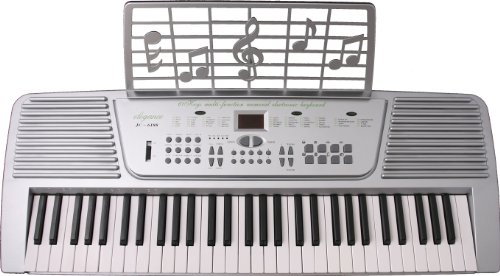 Crescent 61 Keys Silver Electronic Keyboard Digital Piano Student Beginners