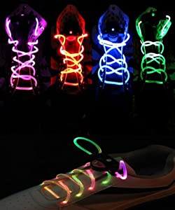 Topcabin LED Shoelaces with Continuous and 2 Blinking Modes in 5 Colors Flash Lighting the Night for Party Hip-hop Dancing (Dazzle colour)