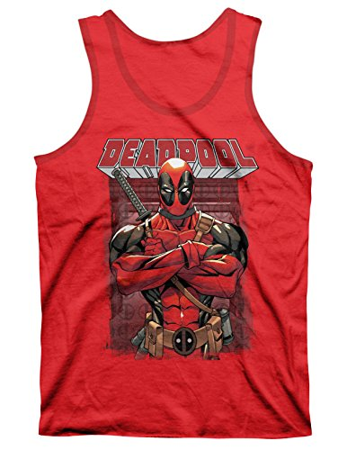 Deadpool Arms Crossed Red Heather Men's Tank Top L (Pool Tank compare prices)