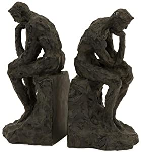 Thinking Man Bookends Set Of 2, SET OF 2, BRONZE