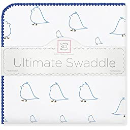SwaddleDesigns Ultimate Receiving Blanket, Mama & Baby Chickies, Bright Blue