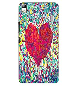 EU4IA Red Heart Pattern MATTE FINISH 3D Back Cover Case For Lenovo A 7000 - D238
