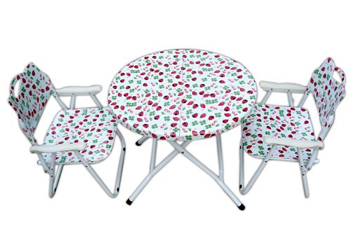 """Amaze"" Folding Baby kids children printed portable outdoor study dining furniture play group Table-Chair Set (Strawberry)"