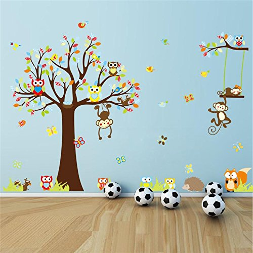 hot sellings monkey wall stickers for kids rooms zooyoo1212 baby room home decorations cartoon tree wall art animal wall decals (Salt Life Car Decal Large compare prices)