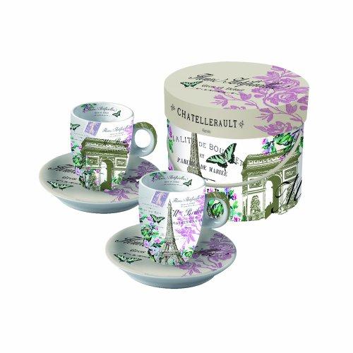 Paperproducts Design Gift Box Demitasse/Espresso Cups, La Tour de Paris, Set of 2