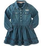 Calvin Klein Baby Girls Long Sleeve Denim Dress and Panty, Dark Wash, 24 Months