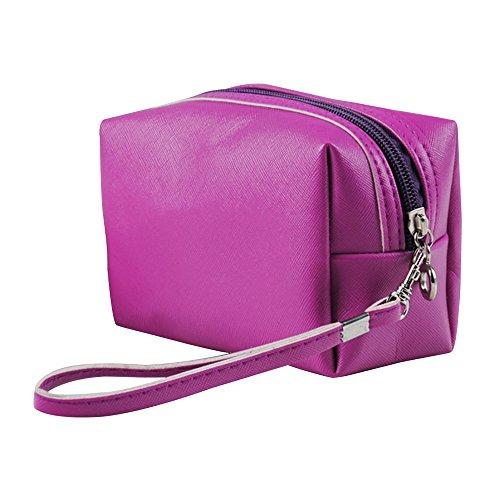 Contever® PU Cosmetico Mano Borsa di Trucco di Caso dell'organizzatore del sacchetto Borsetta Zipper - Viola