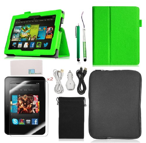 Llamamia New Kindle Fire Hd 7 Inch 2013 Accessories Bundle - Folio Stand Pu Leather Case Cover Protector + Car Charger + 2 Cables(6 Feet) + Zipper Sleeve Bag + Velvet Pouch + 2 Screen Protectors + 2 Stylus Pens (Green) (Kindle Fire Hd Bundle Package compare prices)