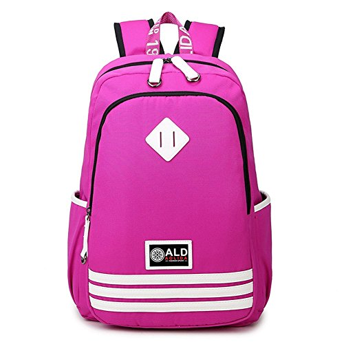 ZIGUO Cute Classic Vintage Canvas Rucksack Backpack For Travel Casual Daypacks Book bag (Pink)
