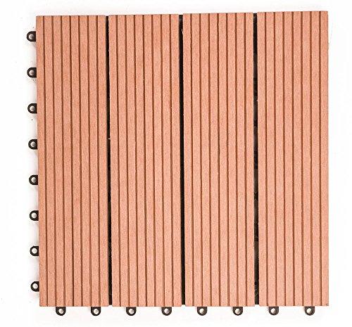 (OSJ)人工木 樹脂 ウッドデッキ 27枚セット 腐らない ベランダ ウッドタイル (レッド)