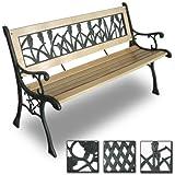 Miadomodo - Banc de jardin en bois et fonte - (L/l/H) : 122/56/74 cm - design tulipe - DESIGN AU CHOIX