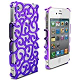 Lumii Ark Electroplating Hollow Chrome Pattern Design Back Cover PC Case for Apple iPhone 4/4S – Purple