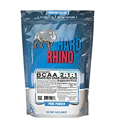 Hard Rhino BCAA 2:1:1 Instantized Branched Chain Amino Acid Powder, Blue Raspberry, 500 Grams (1.1 Lbs), Lab-Tested, Scoop Included, 76 Servings