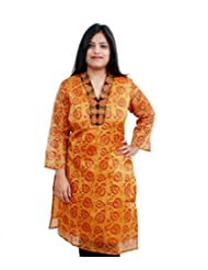 Viniyog Women Hand Woven Maheshwari Cotton-Silk Hand Block Printed Yellow Kurti