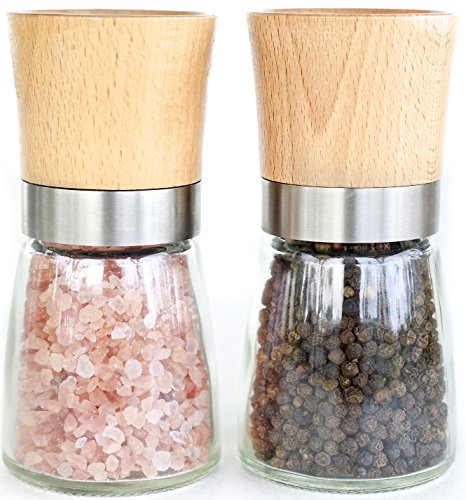 Willow & Everett Salt and Pepper Shakers - Wood Salt and Pepper Grinder Set with Adjustable Coarseness - Salt and Pepper Mill Pair - Spice Grinder