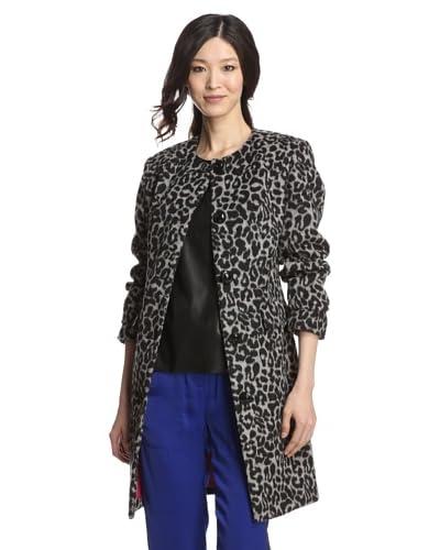Betsey Johnson Women's Leopard Print Coat  [Grey Leopard Print]