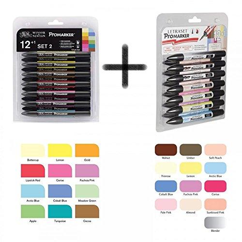 bundle-buy-letraset-promarker-12-pen-set-one-promarker-12-pen-set-two-plus-1-blender-pen-in-each-set
