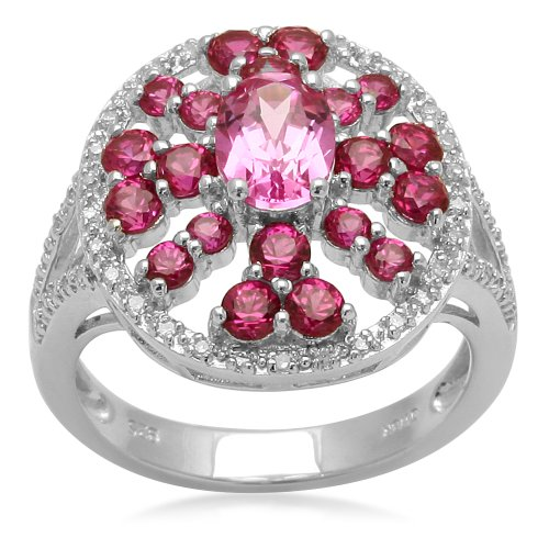 Sterling Silver and Round Created Ruby Ring, Size 7