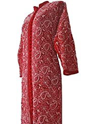 Lucknowi ChikanKari Deepika Padukone Styled Red Bollywood Front Open Front-embroidered Georgette Ethnic Kurti...