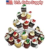 U.S. Cake Supply® Brand 41 Count Metal Cupcake Dessert Stand with 5 Tiers - Great for Holiday & Birthday Parties - Halloween - Thanksgiving - Christmas - 4th of July - Valentines Day - Saint Patricks Day - Use with Themed Wilton Cupcake Baking Cups
