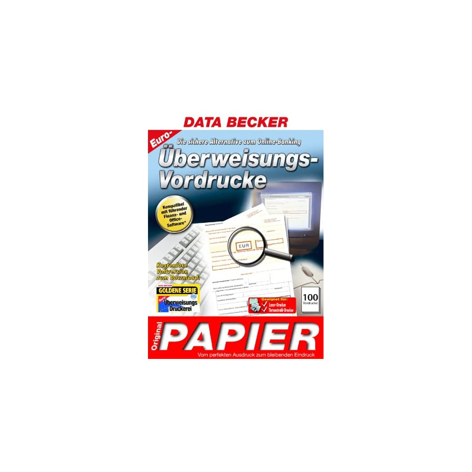 Data Becker Original Papier überweisungs Vordrucke Euro On