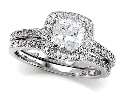Zoe R(tm) 925 Sterling Silver Micro Pave Hand Set Cubic Zirconia (CZ) Cushion Cut Center Wedding Set Size 5