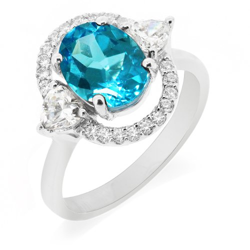 LenYa Special - Dazzle and shine, Anniversary Sterling Silver Ring with Oval Blue Topaz , Heart Cubic Zirconia, Round Cubic Zirconia, (Ring Size 7)