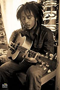 1art1 43912 Bob Marley - Sepia, Gitarre Poster (91 x 61 cm)
