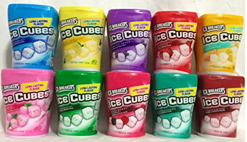 Ice Breakers Ice Cubes Gum, Pack of COLLECTION 10 Flavors/10Cube Bottles (Ice Breakers Artic Grape compare prices)