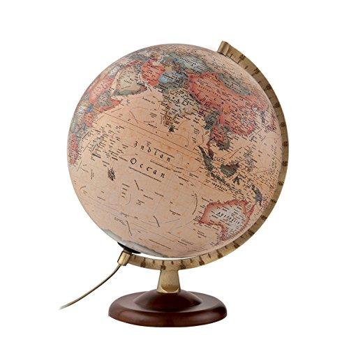 Atmosphere - Globo terráqueo con esfera de madera y metal, iluminada, en castellano, 30 cm, color sepia (Mapiberia A4)
