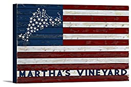 Martha\'s Vineyard - USA Flag and Stars (36x24 Gallery Wrapped Stretched Canvas)