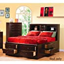 California King Size Bookcase Chest Bed In Cappuccino Finish