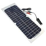 Taotuo 10W 12V 単結晶 ソーラーパネル ソーラーチャージャー セミフレキシブル 太陽光パネル 車 RV ボート対応 USBケーブル付き