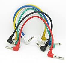 Anti-ruido Cable de alambre de cable de guitarra pedal de efectos, corto conexión de audio cable 6,35mm Pack de 6