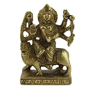 Indische messing durga statue g ttin sitzend auf l wen for Indische dekoartikel