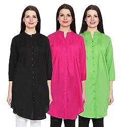NumBrave Black, Magenta & Green Long Cotton Top (Pack of 3)