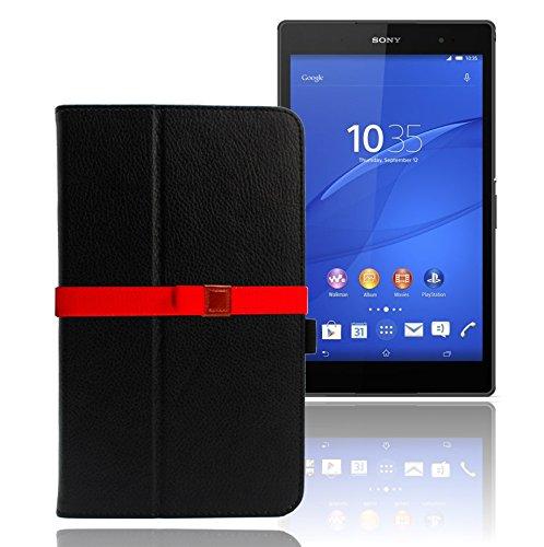 LOE(ロエ) SONY Xperia Z3 Tablet Compact タブレット専用 PUレザーケース (型番ZTB457)  3点セット[ケース+液晶保護フィルム+カラーベルト] (ブラック)
