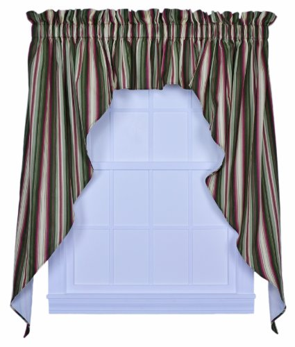 Montego Stripe Lined Scalloped Valance: Ellis Curtain Montego Stripe 102-Inch By 36-Inch 3-Piece