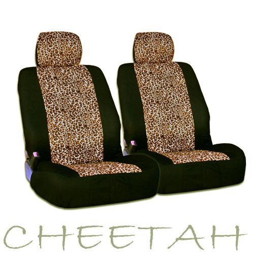New And Unique Yupbizauto Brand 4 Pieces Safari Cheetah Print Universal Size Car Truck Suv Front Seat Covers Set High Quality Velour And Mesh Material Low Back Gift Set Smart Pocket Feature front-73601