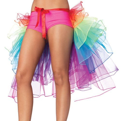 Asoidchi Rainbow Party Bustle Ballet Dance Ruffle Tulle Tutu Skirt