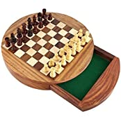ShalinIndia Unique Compact Box Magnetic Round Wooden Chess Board And Pieces Set Gift For Kids Adults