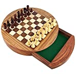 Unique Compact Box Magnetic Round Wooden Chess Board And Pieces Set Gift For Kids Adults