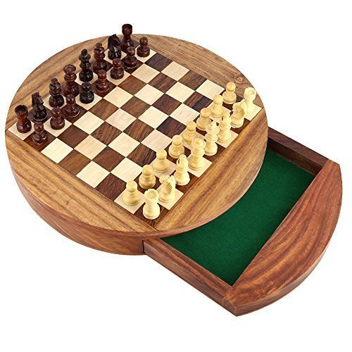 Unique Compact Box Magnetic Round Wooden Chess Board And Pieces Set Gift For Kids Adults 0