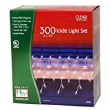 Holiday Wonderland 14084W-88 300-Count Clear Christmas Icicle Light Set