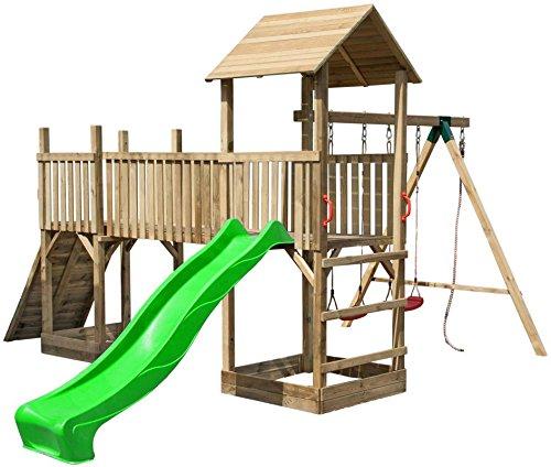 Spielturm mit Schaukel, Rutsche und Kletterwand günstig bestellen