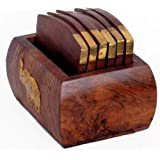 """MadeInIndiaGallery Wooden Tea Coaster With Metal Edging - Size 3"""" Height, 2.7"""" Width, 4"""" Length"""