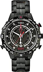 Timex IQ Tide Temp Compass Black Dial Black Ion-plated Mens Watch T2P140